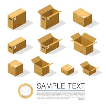 Set von boxen zum senden isometrisch. vektorillustration