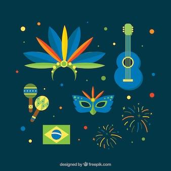 Set von brasilien karneval objekte in flaches design