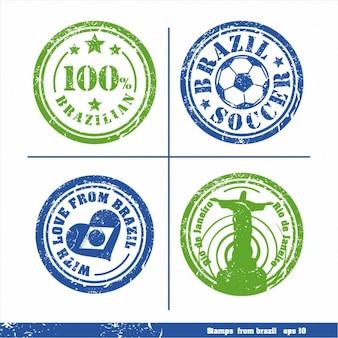 Set von briefmarken aus brasilien vektorelemente für ihr design
