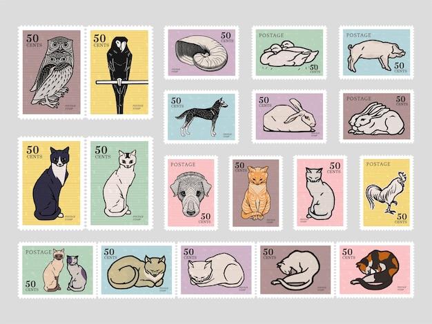 Set von briefmarken mit verschiedenen tieren