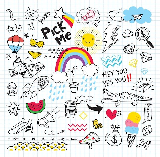 Set von bunten doodle auf papierhintergrund