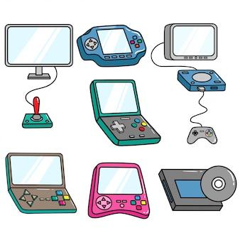 Set von bunten videospiel-controller mit doodle-stil