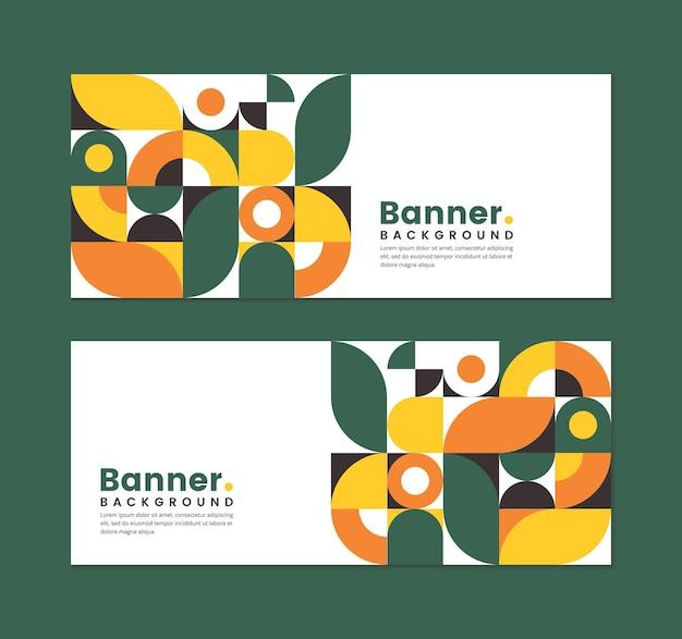 Set von business-banner-design mit abstraktem floralem geometrischem stil