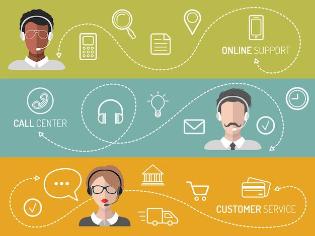 Set von call-center-, kundendienst- und online-support-bannern.
