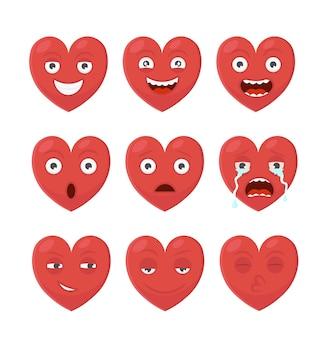 Set von cartoon-emoji-herzen avatare mit verschiedenen gesichtsausdrücken