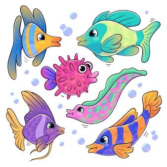 Set von cartoon-fischen