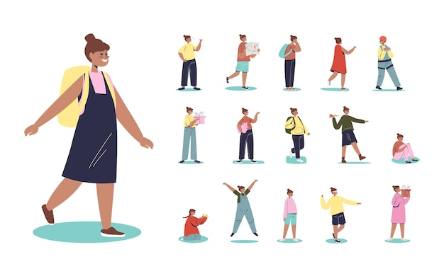 Set von cartoon-mix-rennen afroamerikanisches schulmädchen mit rucksack in verschiedenen lebensstilsituationen und posen: mit geschenkbox zum geburtstag gehen, sparschwein mit ersparnissen halten. flache vektorillustration