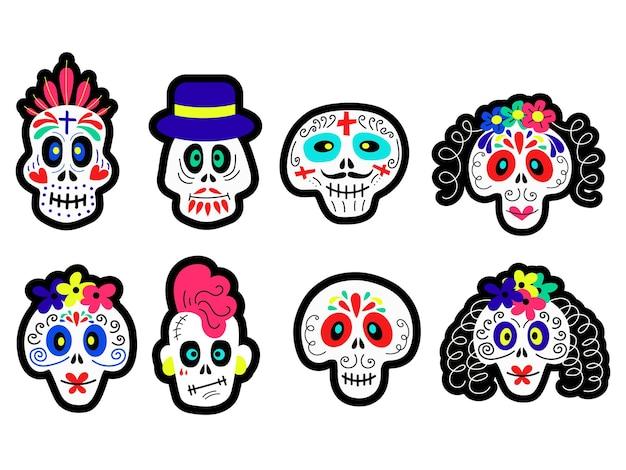 Set von cartoon-schädeln verschiedener typen für halloween und tag der toten feier konzeptdesigns