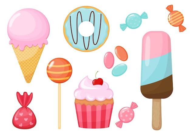 Set von cartoon-süßigkeiten und bonbons