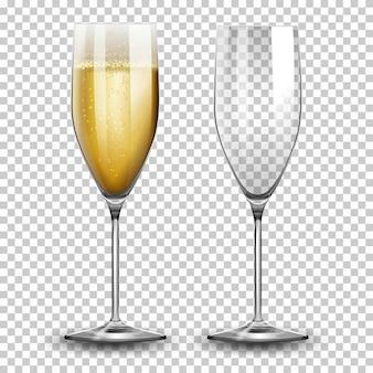 Set von champagnergläsern