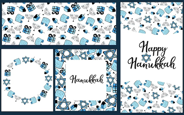 Set von chanukka traditionelle attribute der menora, dreidel, torah im doodle-stil. runder rahmen, nahtloses muster, handbeschriftung. angekreidet auf einer tafel. horizontales und vertikales banner.