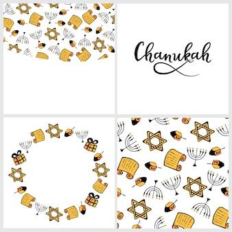 Set von chanukka traditionelle attribute der menora, dreidel, torah, im doodle-stil. runder rahmen, nahtloses muster, handbeschriftung