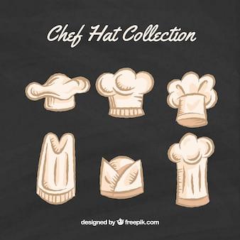 Set von chef's hand gezeichnet hüte