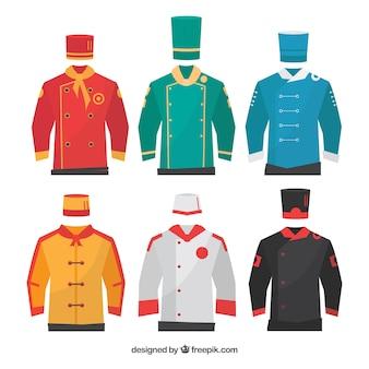Set von chef's uniformen