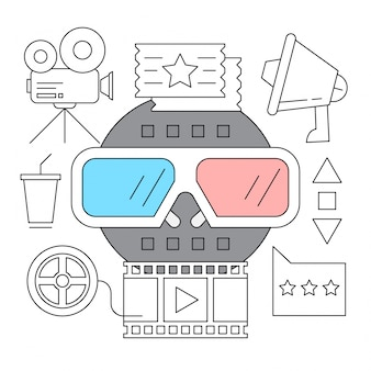 Set von cinema outline icons