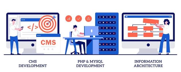Set von cms, php- und mysql-entwicklung, informationsarchitektur, backend-entwicklung