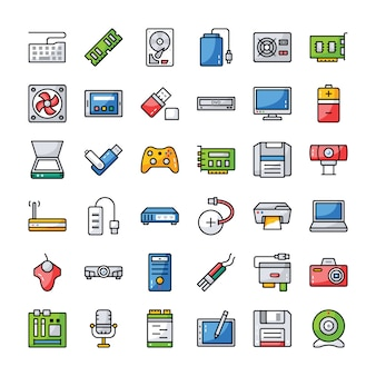 Set von computer-hardware-icons