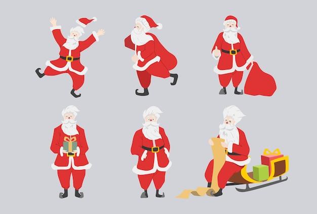 Set von coolem und süßem weihnachtsmann-charakter mit geschenken, tasche, geschenkboxen. lustige und glückliche karikatur für weihnachtsvektorillustration.