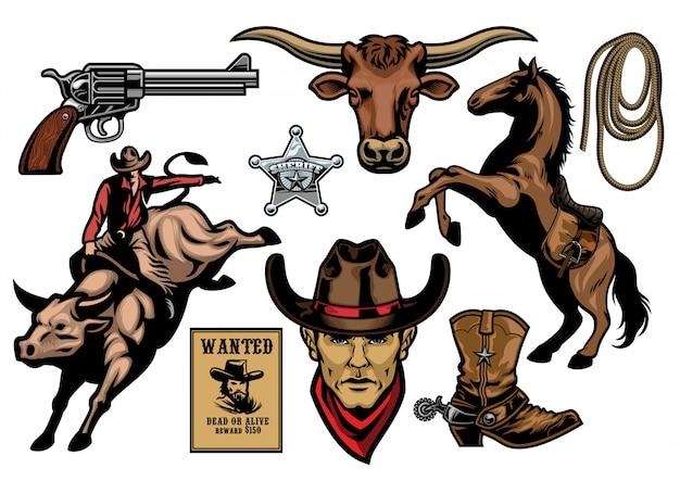 Set von cowboy-objekten