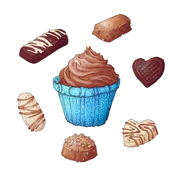 Set von cupcakes