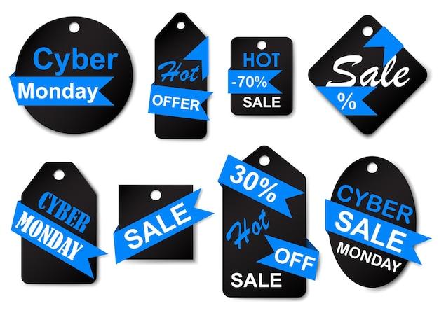 Set von cyber-monday-sale-etiketten und -tags in den farben schwarz und blau