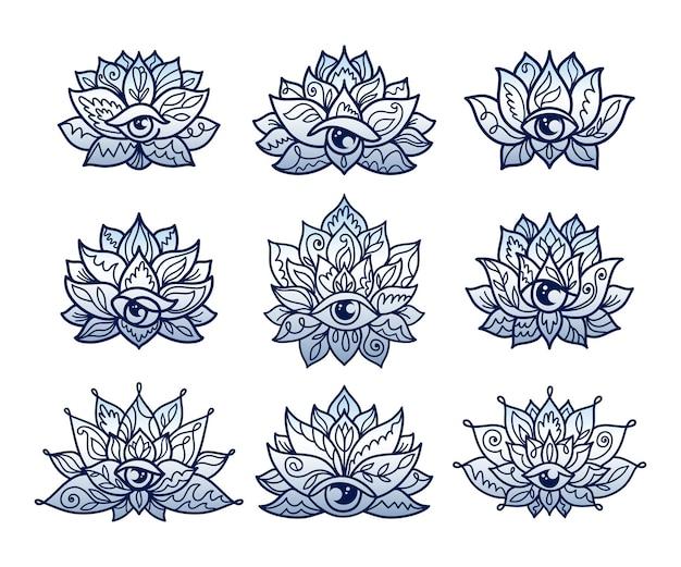 Set von dekorativen lotusblumenmustern mit drittem auge