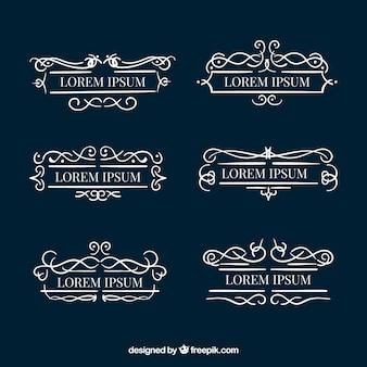Set von dekorativen monogrammen