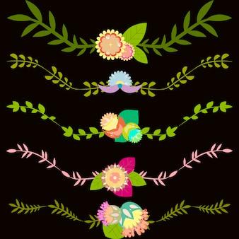 Set von dekorativen vektor grenzen mit blättern und blumen