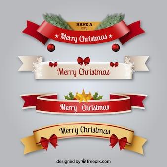 Set von dekorativen weihnachtsbändern