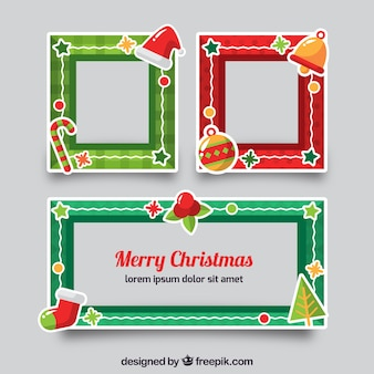 Set von dekorativen weihnachtsrahmen