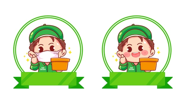 Set von delivery man logo-set