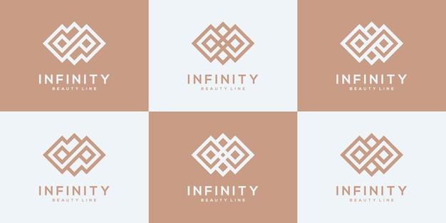 Set von designvorlagen für das unendlichkeitslogo der sammlung.