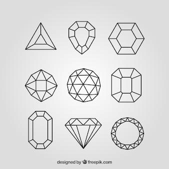Set von diamanten in linearem stil