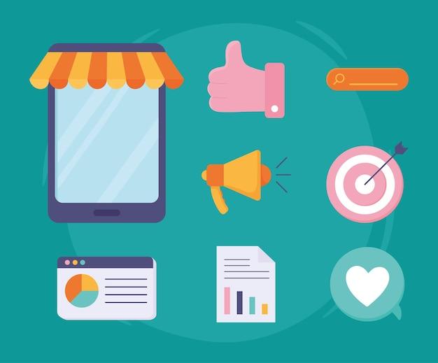Set von digitalem marketing