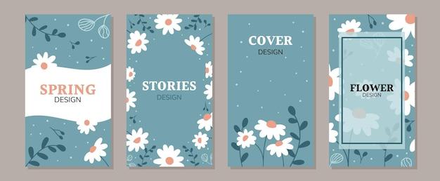 Set von doodle-gänseblümchen-blumen-social-media-posts und geschichten-werbeinhalt-banner-vorlagen