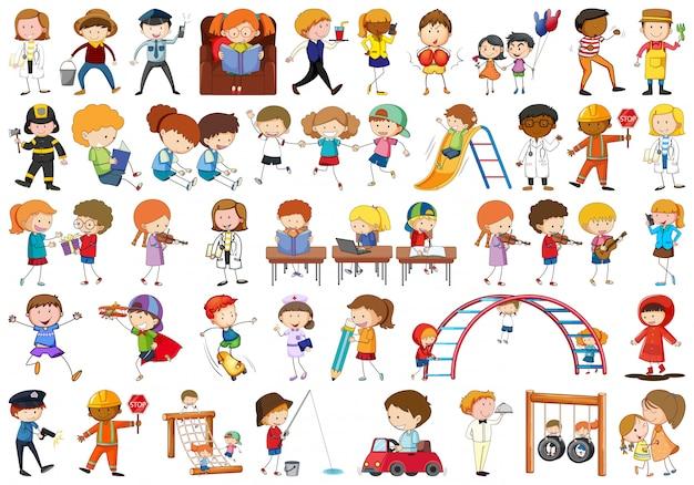 Set von doodle-kindern