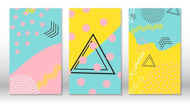 Set von doodle-spaßmustern. hipster-stil der 80er-90er jahre. memphis-elemente. flüssige rosa, blaue, gelbe farben.