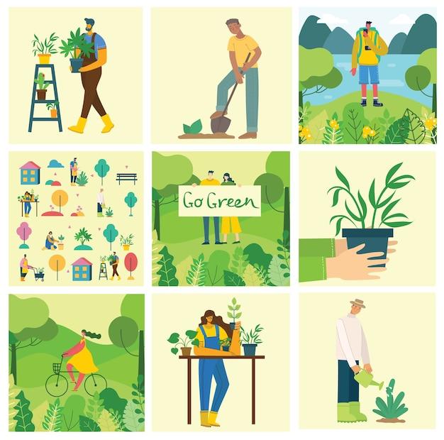 Set von dorfbewohnern mit bio-lebensmitteln, blumen und pflanzen im flachen design