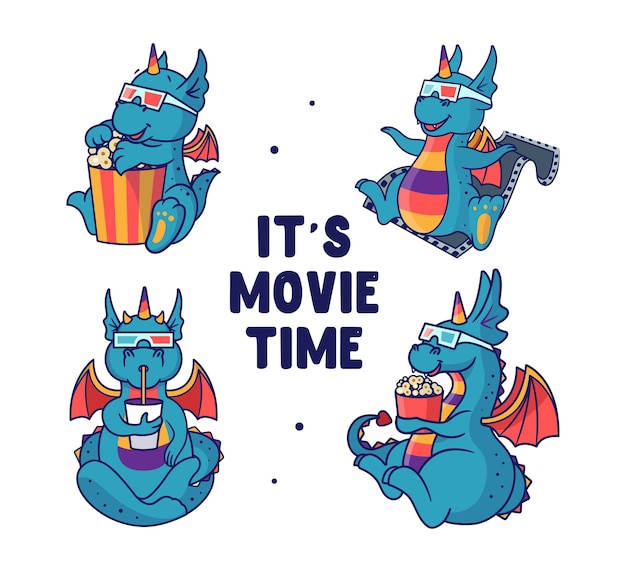 Set von drachen, die einen film sehen und essen. regenbogen-einhorn-monster.