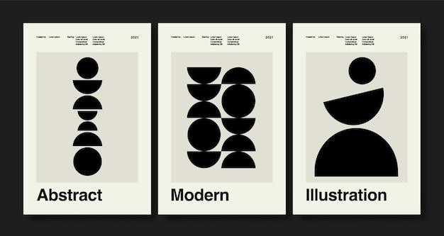 Set von drei abstrakten kunstplakaten boho-plakaten handgezeichnete verschiedene formen und doodle-objekte Premium Vektoren