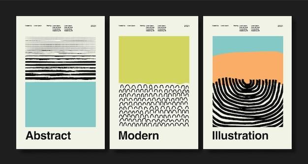Set von drei abstrakten kunstplakaten boho-plakaten handgezeichnete verschiedene formen und doodle-objekte