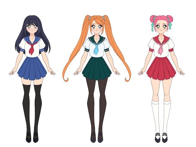 Set von drei anime-mädchen in japanischer schuluniform