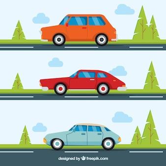 Set von drei autos auf der straße