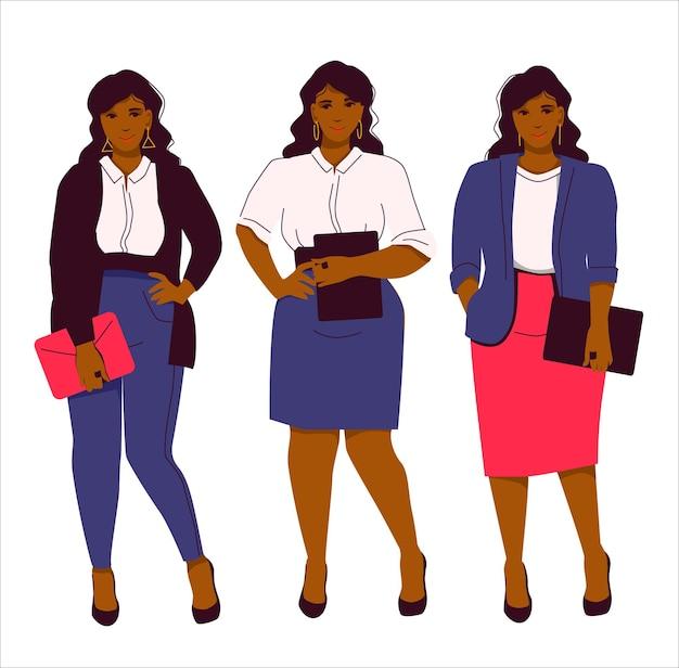 Set von drei büro-looks für afroamerikaner plus größe frau business-stil in kleidung