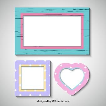Set von drei dekorativen bilderrahmen