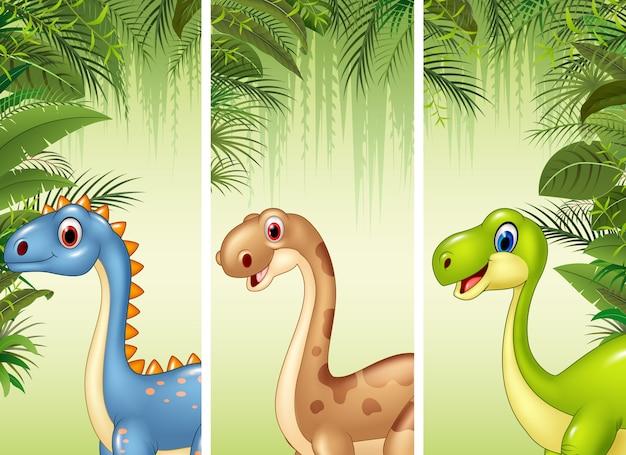 Set von drei dinosauriern