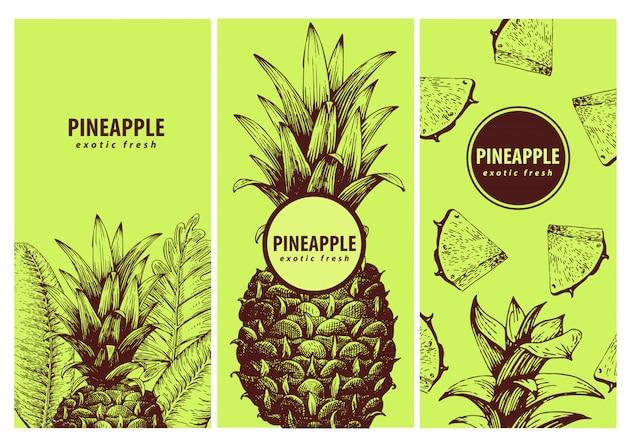 Set von drei exotischen etiketten mit ananas