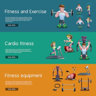 Set von drei fitness-banner