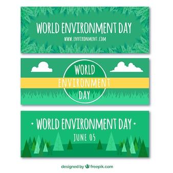 Set von drei grünen bannern für weltumwelt tag