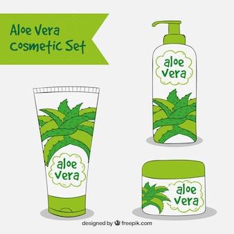 Set von drei handgezeichneten aloe vera kosmetik